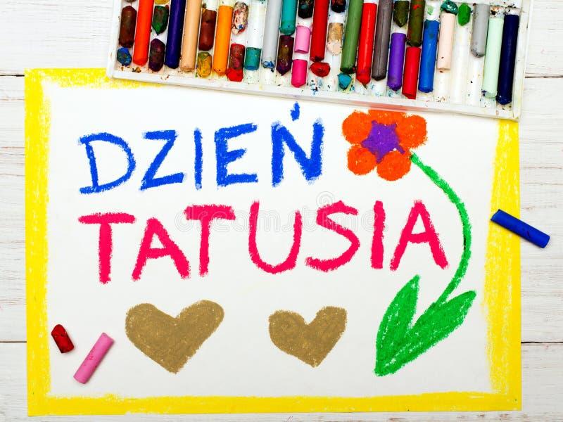 Красочный чертеж: Польская счастливая карточка дня отцов стоковая фотография rf