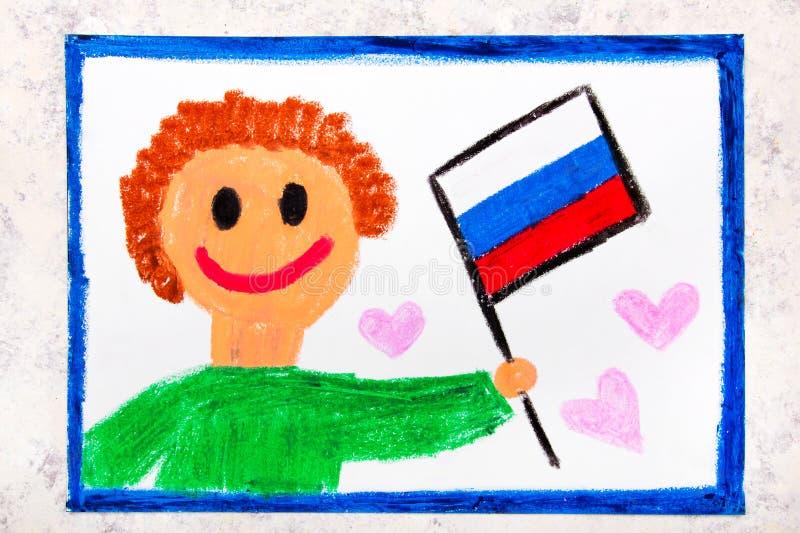 Красочный чертеж: Счастливый человек держа русский флаг флаг Россия стоковое фото