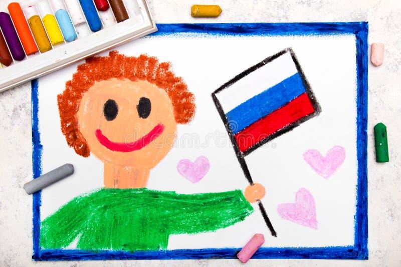 Красочный чертеж: Счастливый человек держа русский флаг стоковое фото