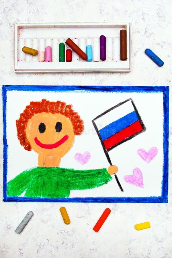 Красочный чертеж: Счастливый человек держа русский флаг стоковая фотография rf