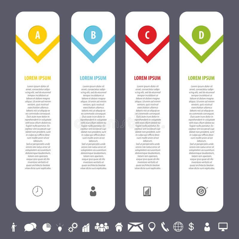 Красочный чистый шаблон знамен с значками Вектор Infographics бесплатная иллюстрация