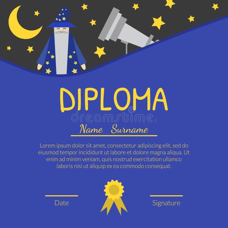 Красочный шаблон диплома для детей с местом для вашего текста, Preschool, детьми детского сада аттестует с иллюстрация штока