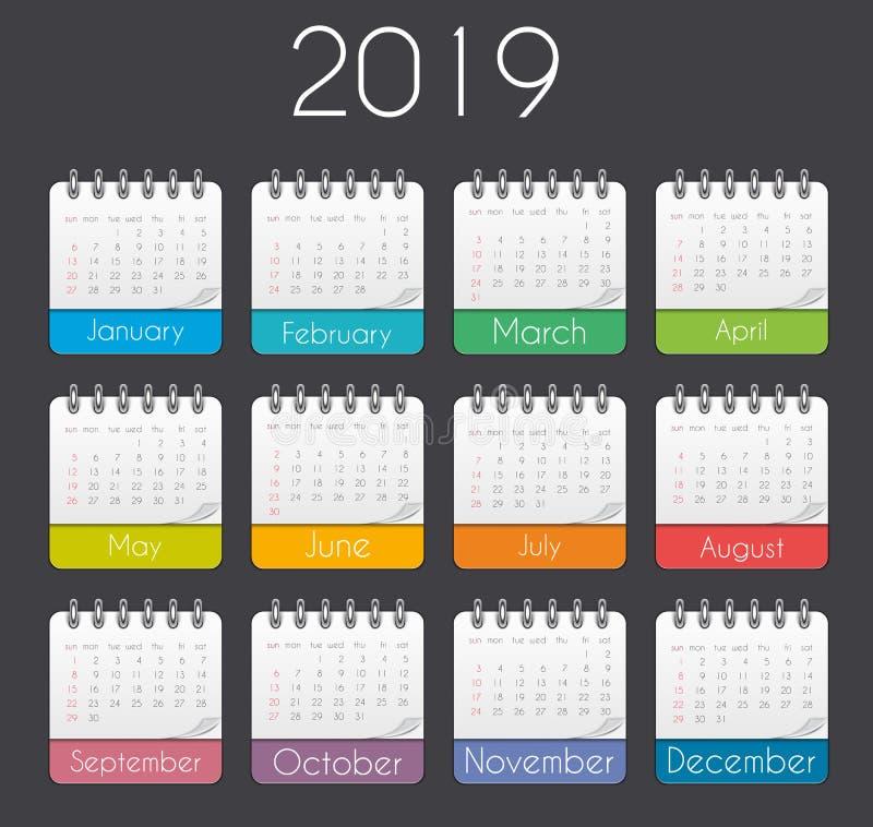 Красочный шаблон 2019 календаря года также вектор иллюстрации притяжки corel бесплатная иллюстрация