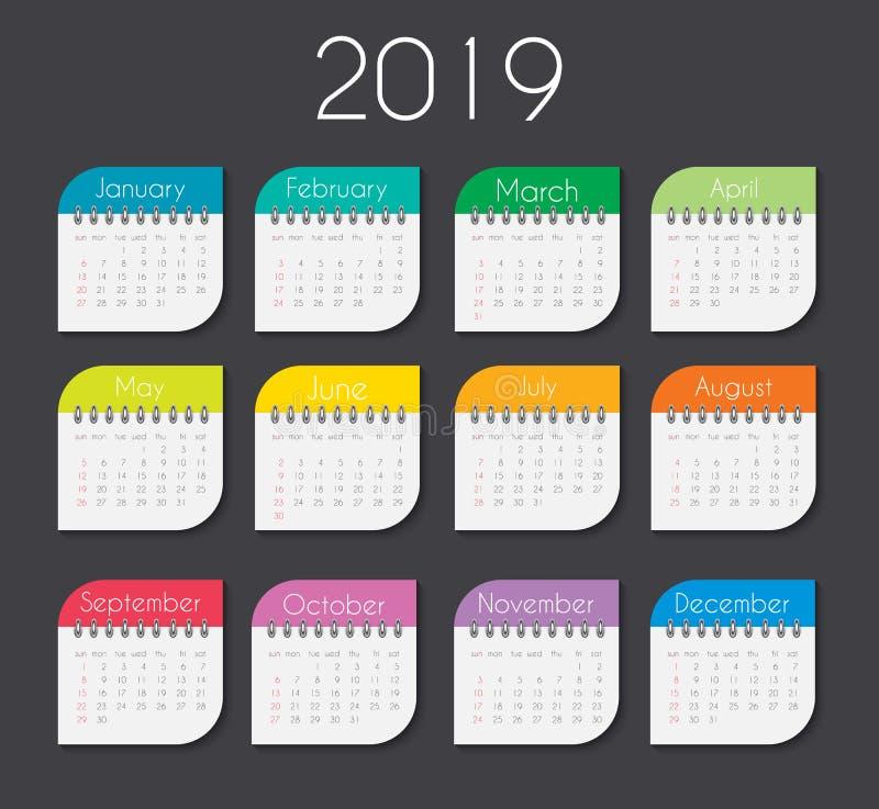 Красочный шаблон 2019 календаря года также вектор иллюстрации притяжки corel иллюстрация штока