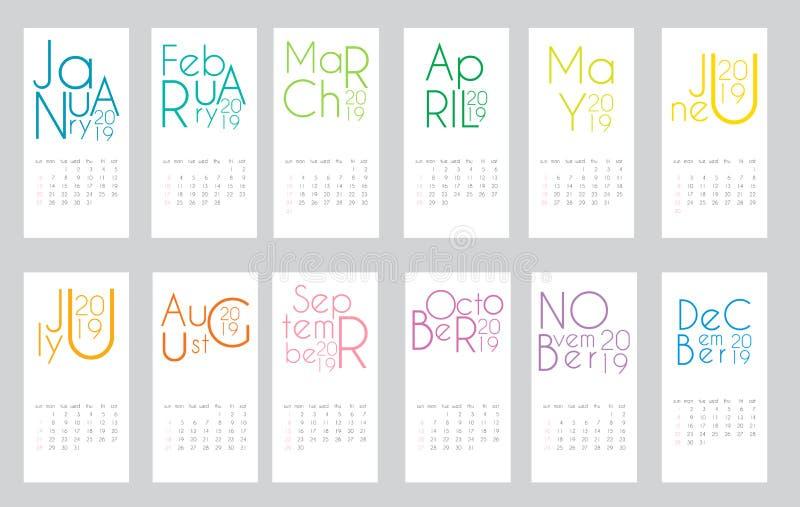 Красочный шаблон 2019 календаря года также вектор иллюстрации притяжки corel иллюстрация вектора