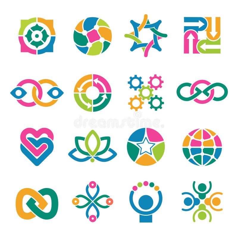 красочный шаблон логотипа Сподвижницы интегрировали формы конспекта вектора союзничества круглые для дела или творческих логотипо иллюстрация штока