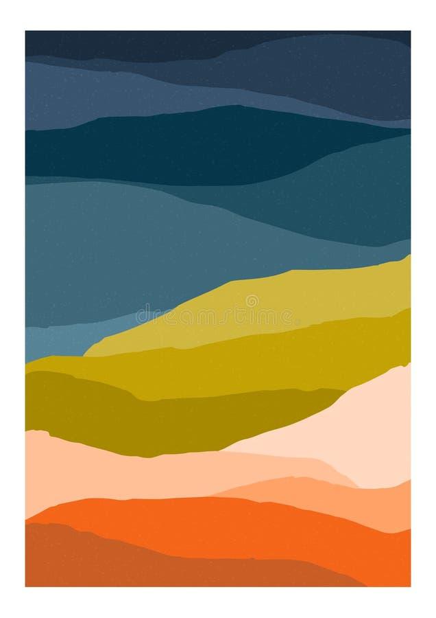 Красочный шаблон предпосылки или карточки с абстрактными горами пестрых цветов Современный вертикальный яркий покрашенный фон бесплатная иллюстрация
