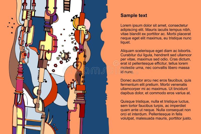 Красочный шаблон с абстрактной картиной с механизмами фантазии и космос для текста иллюстрация вектора