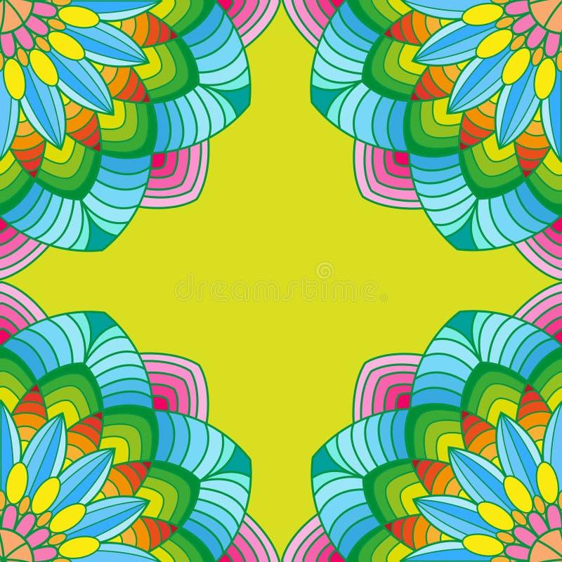 Красочный шаблон углов мандалы для украшений иллюстрация вектора