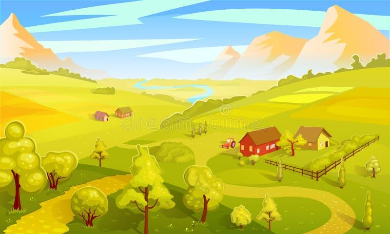 Красочный шаблон ландшафта лета бесплатная иллюстрация