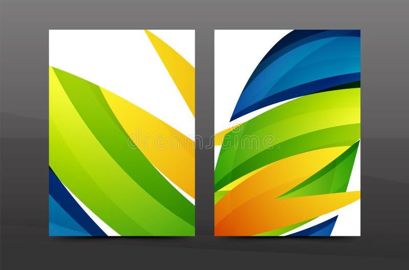 Красочный шаблон крышки годового отчета дизайна свирли иллюстрация штока