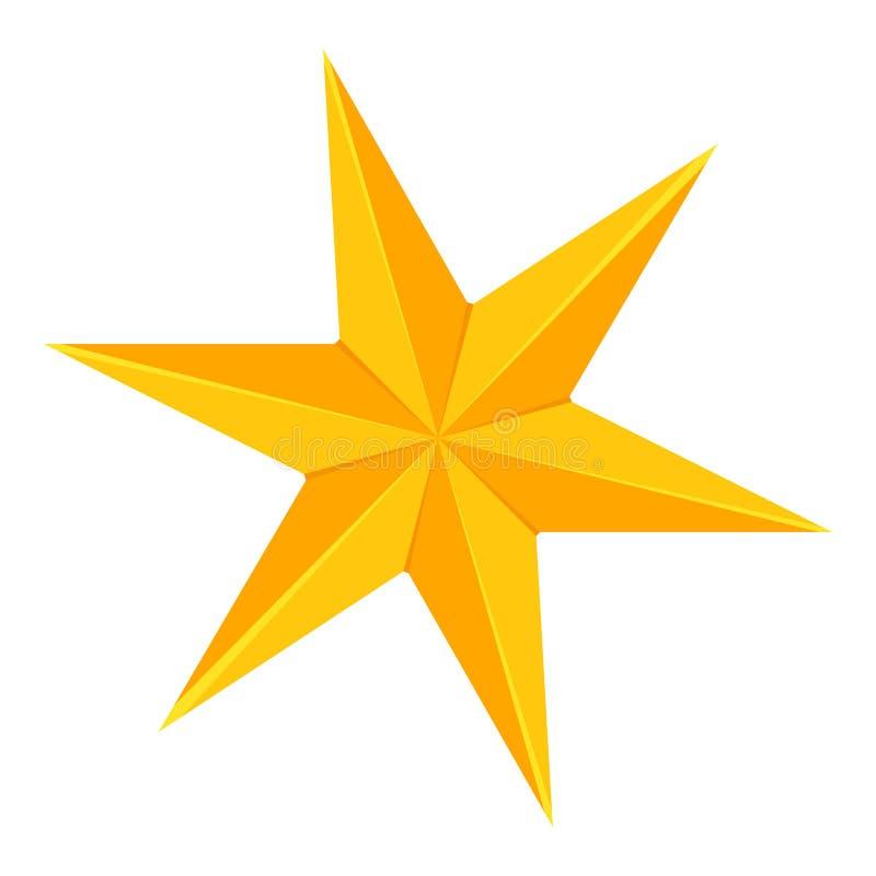 Красочный шарж звезда 6 пунктов золотая иллюстрация штока