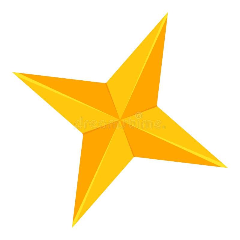 Красочный шарж звезда 4 пунктов золотая иллюстрация штока
