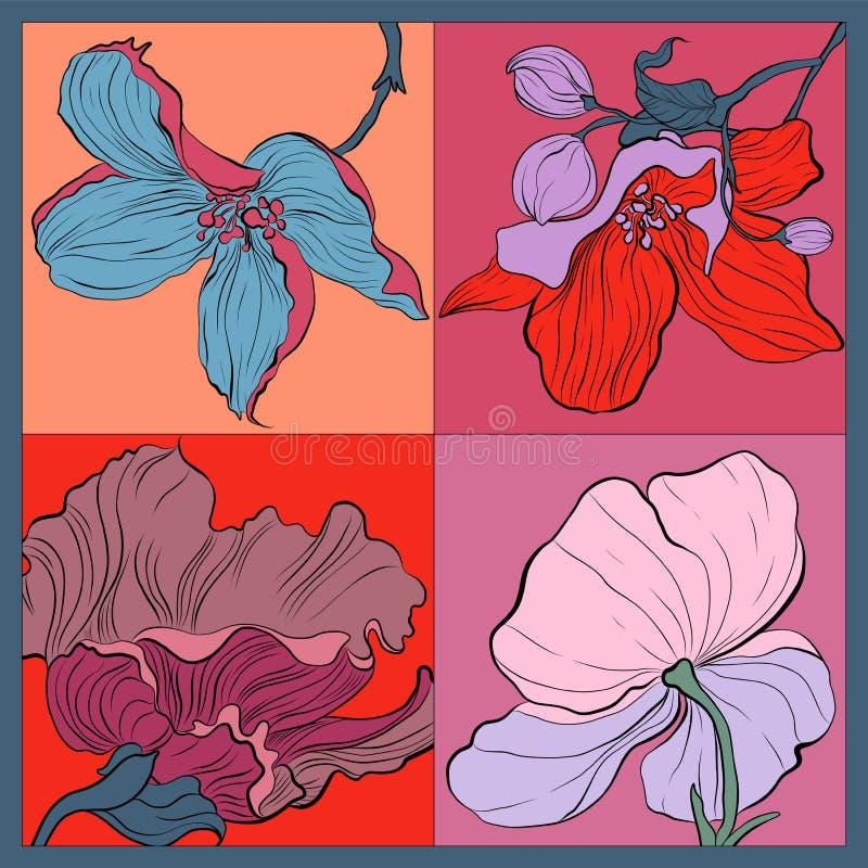 Красочный шарф шелка с цветками Пинк, голубой, фиолет на красном цвете стоковое фото