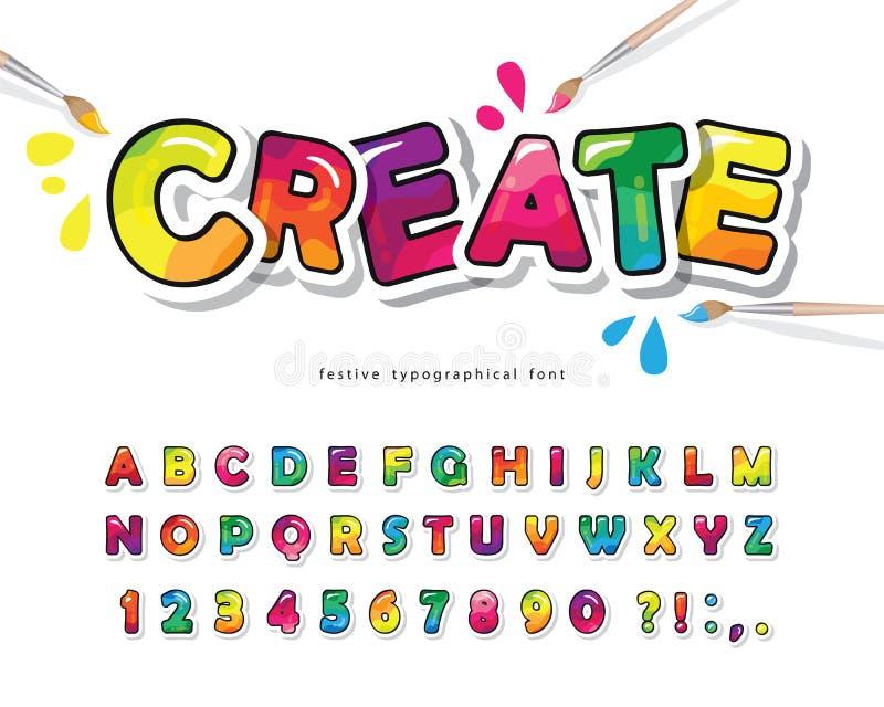 Красочный шрифт мультиплексора для детей Креативная краска ABC буквы и цифры Яркий глоссийский алфавит Бумага вырезана For иллюстрация штока