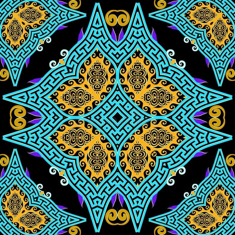 Красочный элегантный красивый векторный бесшовный узор Флоральный фон греческого этнического стиля Геометрический повтор греческо бесплатная иллюстрация