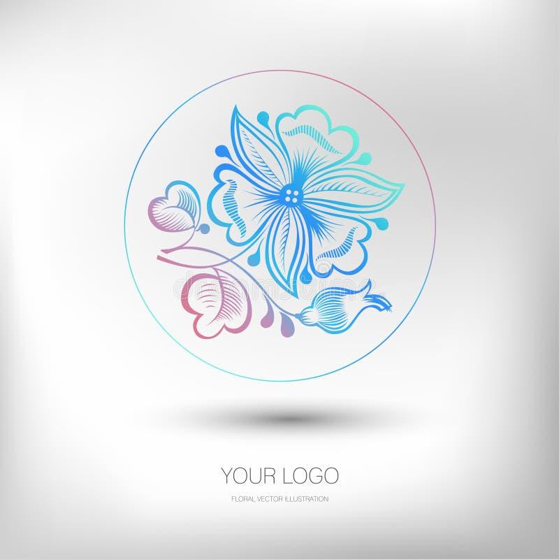 Красочный элемент флористического дизайна для конструировать логотипа также вектор иллюстрации притяжки corel иллюстрация вектора