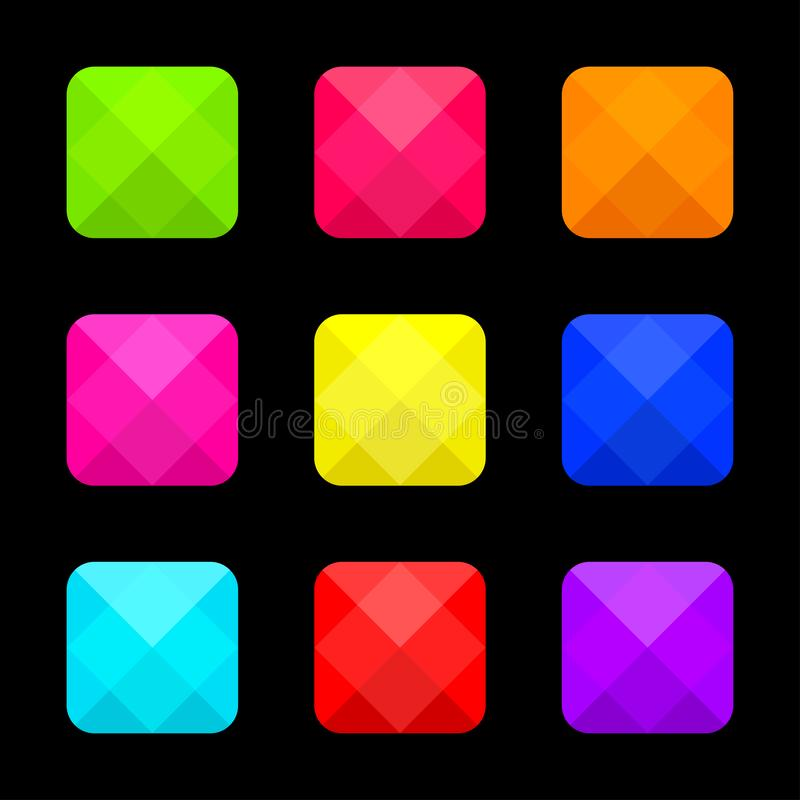 Красочный яркий набор квадратных кнопок r иллюстрация штока