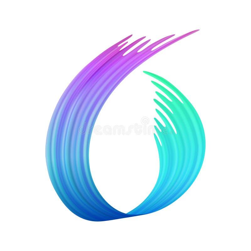 Красочный brushstroke или форма краски щетки, текстура петли фона сделанная с ручкой войлок-подсказки, изолированной трассировкой иллюстрация штока