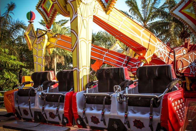 Красочный carousel с заходом солнца стоковая фотография rf