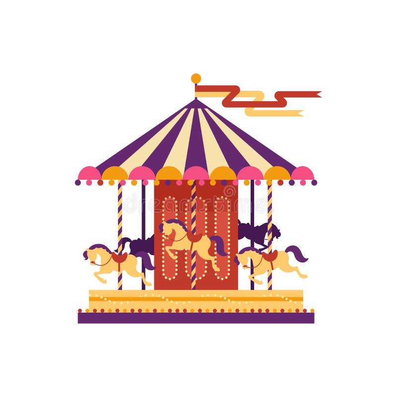 Красочный carousel с лошадями, элемент парка атракционов в плоском стиле изолированный на белой предпосылке дети s бесплатная иллюстрация