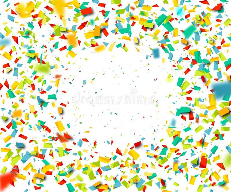 Красочный confetti падая случайно Абстрактная оранжевая предпосылка с частицами взрыва Иллюстрацию вектора можно использовать для иллюстрация вектора