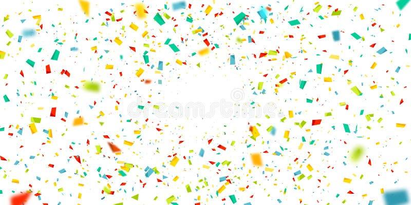 Красочный confetti падая случайно Абстрактная предпосылка с частицами взрыва Иллюстрацию вектора можно использовать для приветств иллюстрация вектора