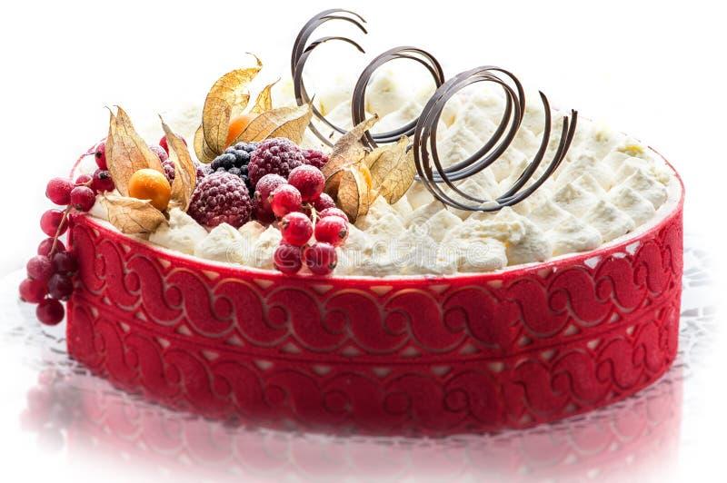 Красочный cream торт с шоколадом завихряется, patisserie, сладостный десерт, фотография для магазина, очень вкусного именниного п стоковое фото rf