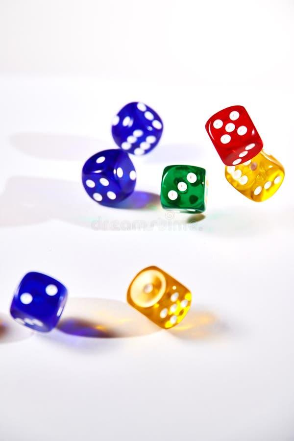 красочный dices в движении на белой предпосылке стоковое фото rf