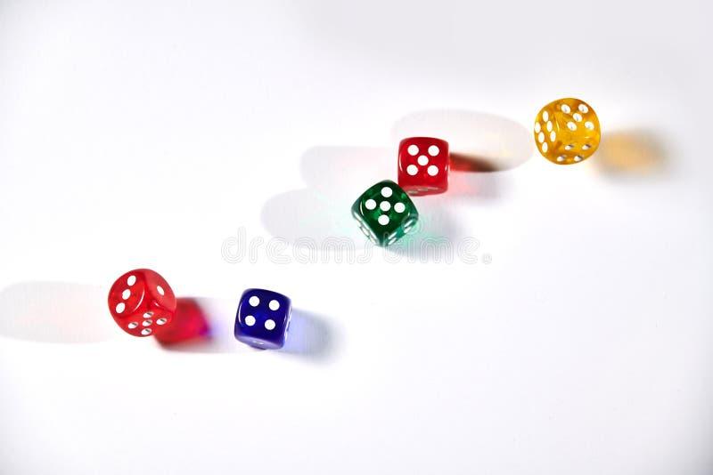 красочный dices в движении на белой предпосылке стоковая фотография rf