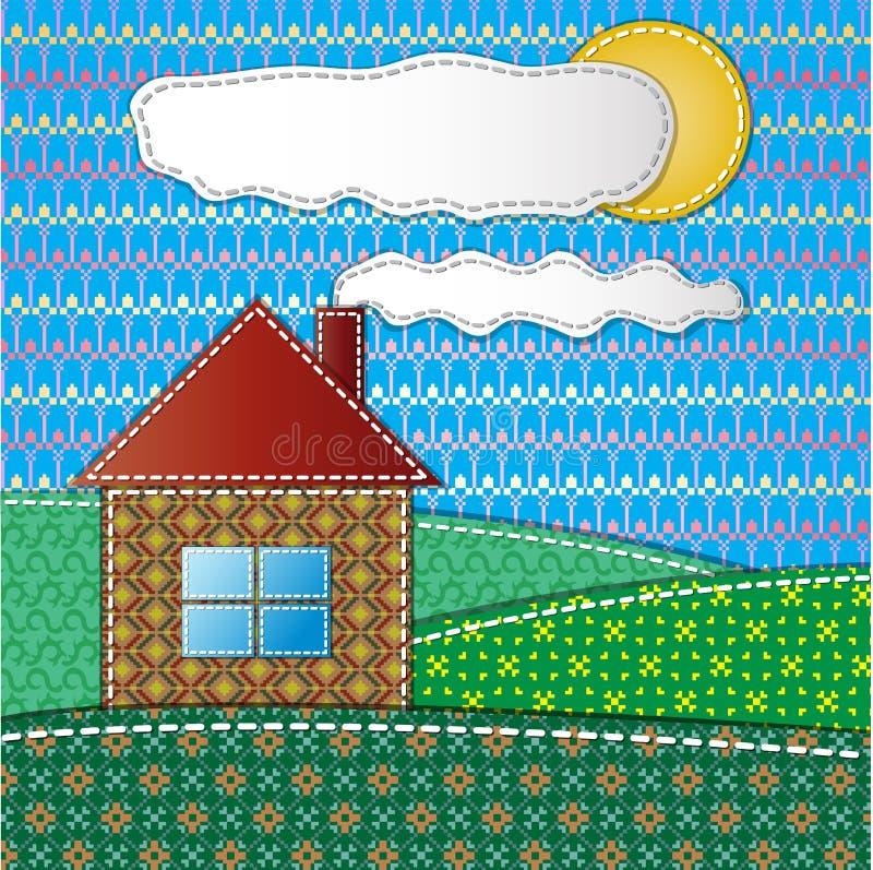 Красочный scrapbook с домом иллюстрация штока