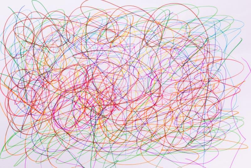 Красочный scribble ручки чувствуемой подсказки на белой бумаге стоковые изображения