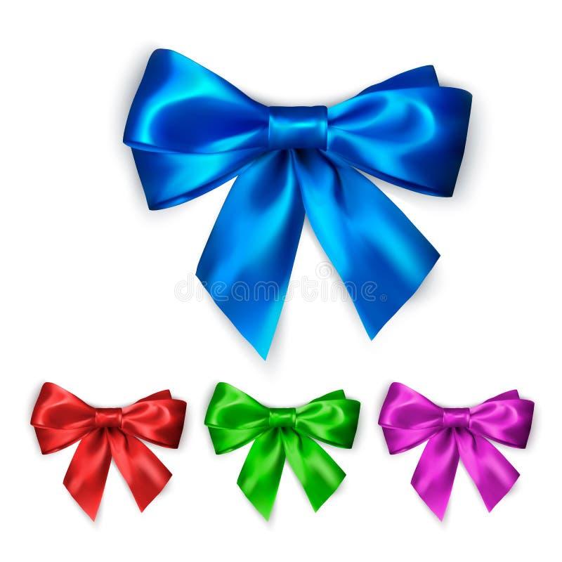 Красочный silk комплект смычка Собрание украшения элегантных смычков Другие цвета дизайна смычка бесплатная иллюстрация