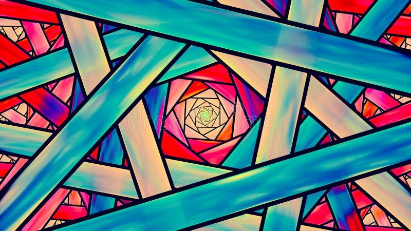 Красочный teal фрактали цветного стекла и оранжевый кинематографический стиль бесплатная иллюстрация