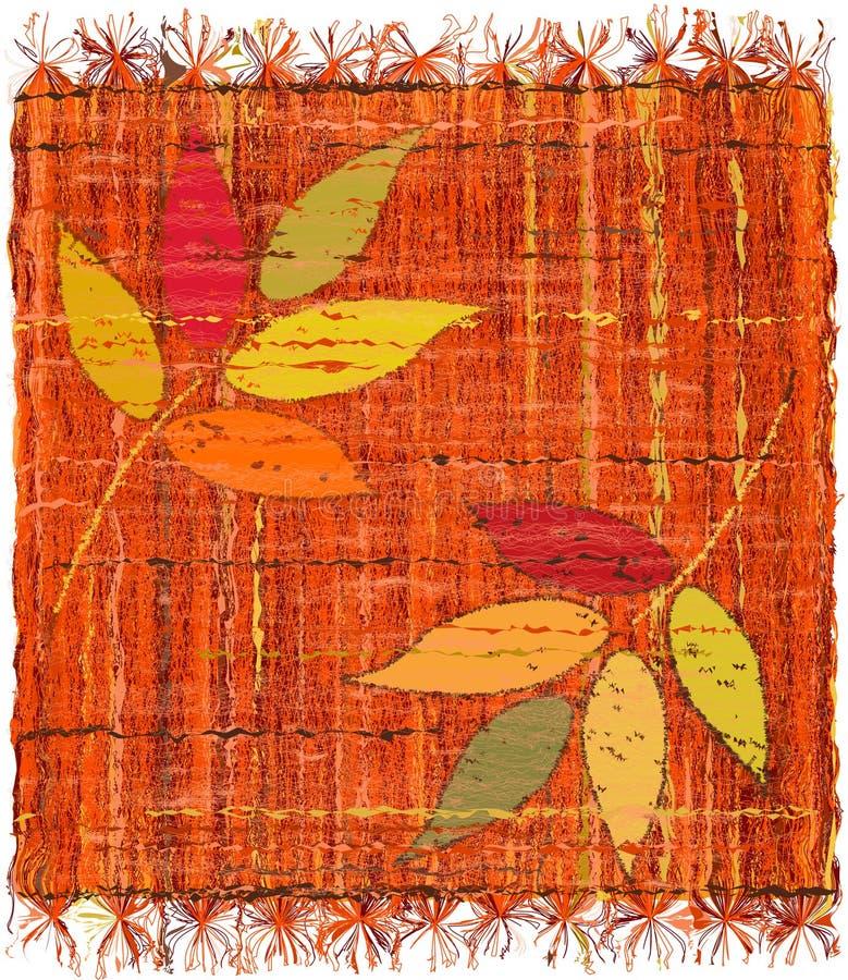 Красочный weave переплетает шотландку с вышивкой стилизованных листьев иллюстрация штока
