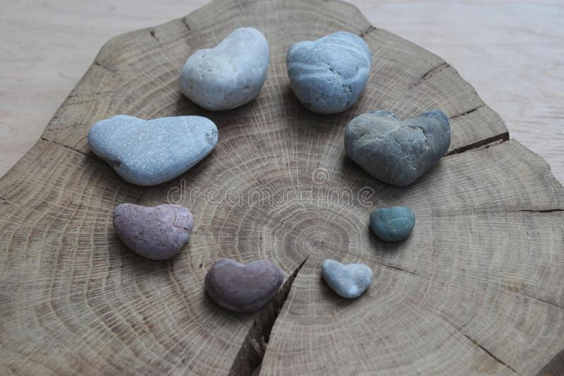 Красочным сердца найденные пляжем каменные стоковые изображения