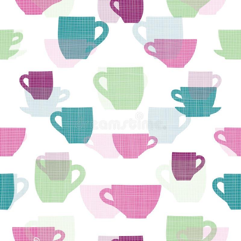 Красочным текстурированная бельем картина повторения вектора чашек стоковые изображения