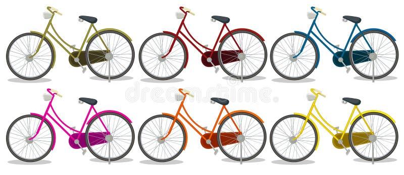 6 красочных велосипедов иллюстрация штока