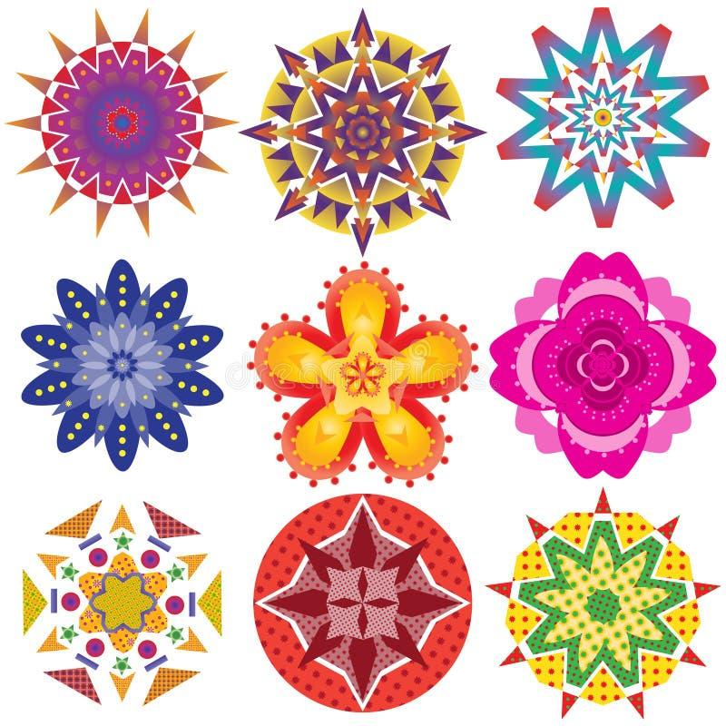 9 красочных геометрических графиков цветков стоковые фото