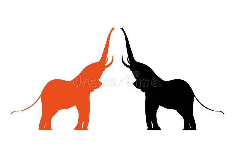 2 красочных слона вектора с поднятыми хоботами иллюстрация вектора