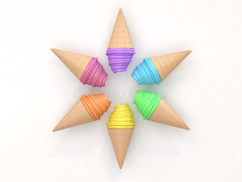 6 красочных составов круга набора мороженого конспекта на белой предп бесплатная иллюстрация