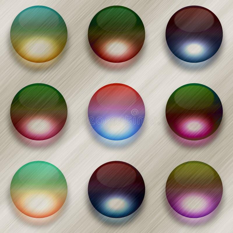 9 красочных стеклянных шариков на почищенной щеткой предпосылке металла иллюстрация штока
