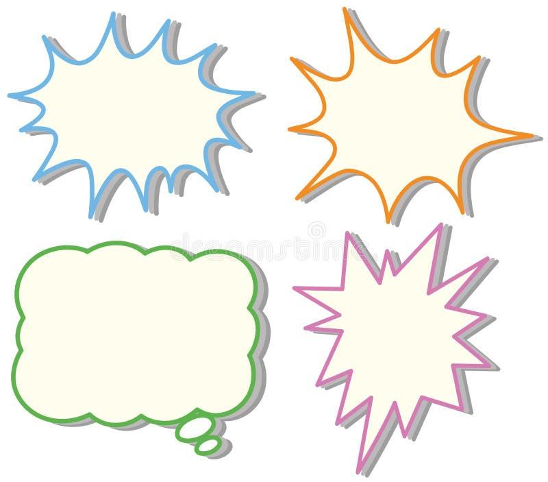 4 красочных шаблона пузыря речи бесплатная иллюстрация