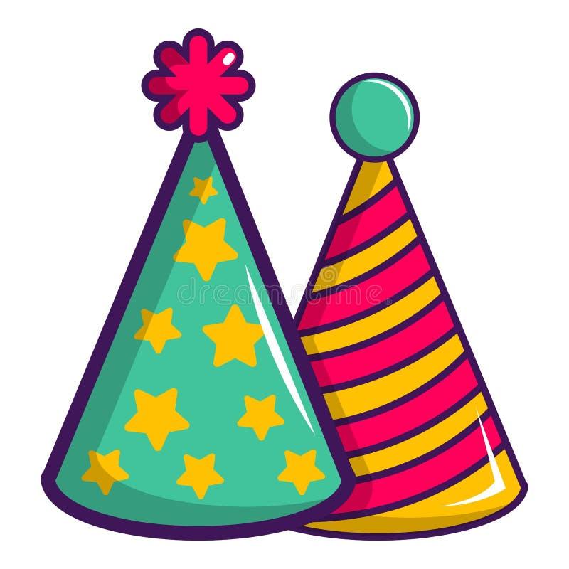 2 красочных шляпы значок партии, стиль шаржа иллюстрация вектора