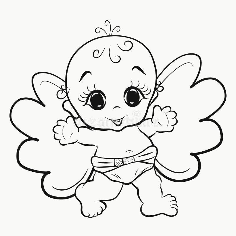 Красящ, маленькое жизнерадостное Анджел бесплатная иллюстрация
