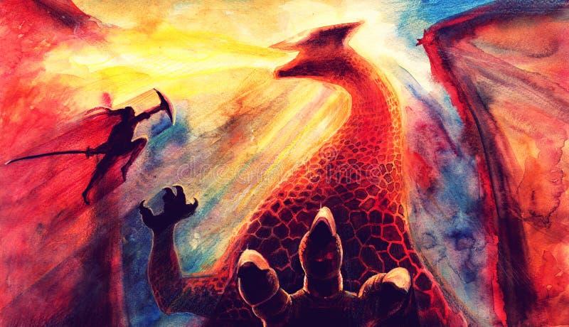 Крася ландшафт акварели фантазии с драконом и японским сражением самурая, искусством фантазии руки вычерченным, сделан акварелью бесплатная иллюстрация