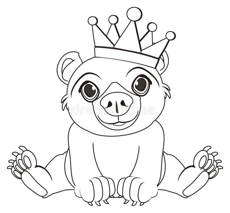 Крася медведь с кроной иллюстрация штока