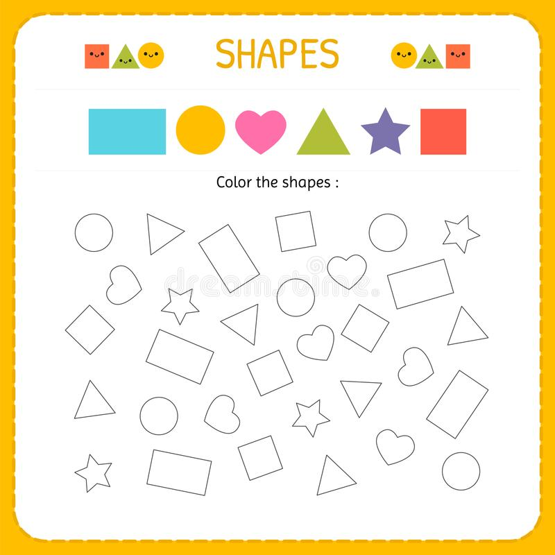Крася множественные формы Выучите формы и геометрические диаграммы Preschool или рабочее лист детского сада для практикуя двигате иллюстрация вектора
