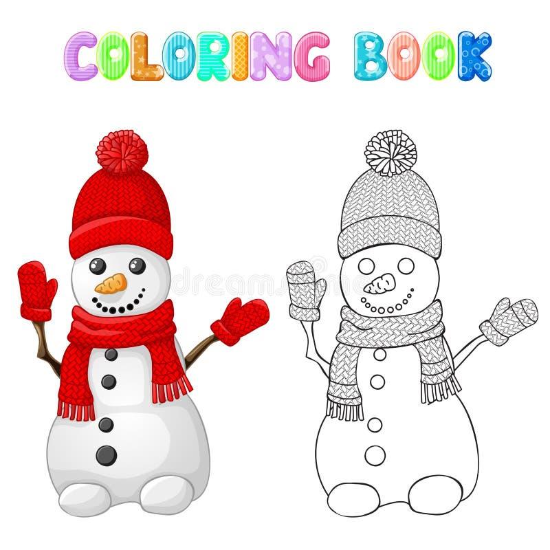 Крася снеговик с красными шляпой, шарфом и перчаткой изолированной на белизне бесплатная иллюстрация