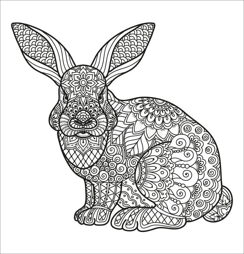 Крася страница для книжка-раскраски взрослого и детей или журнала пули Цветочный узор на кролике, заяц Doodle Цветки и геометриче бесплатная иллюстрация